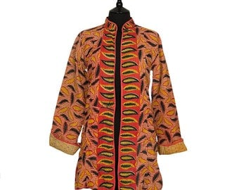 Small size - Long Kantha Jacket - Coral and black. Reverse pink and yellow