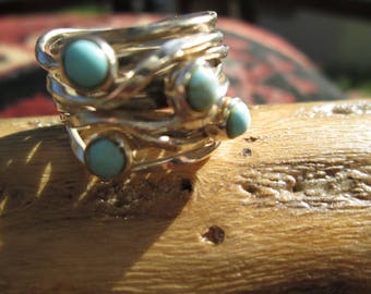 Turquoise and Sterling Silver Brambles Band Ring Size 5.75