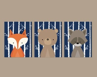 Boy Nursery Art, Woodland Nursery Art, Woodland Animals Nursery Decor, Woodland Baby Shower, Navy Nursery, Set Of 3 Prints Or Canvas