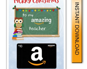 Printable Merry Christmas Amazon Gift Card Holder - Amazing Teacher- Digital Instant Download