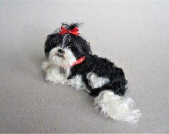 Needle Felted Lhasa Apso Dog, Shi Tzu, Pekingese, Morkie Dog Mutt, Custom Pet Portrait, Needle Felted Miniature Animal, Pet Memorial