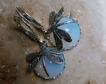 Dragonfly Dragonfly earrings opal glass silver or bronze 12 mm cabochon