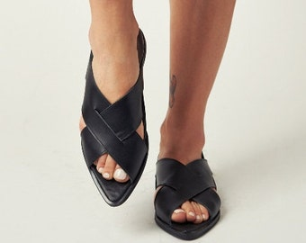 black leather sandals - Leather Shoes - Pointy Toe Shoes - peep toe sandals - woven sandals - leather flats - black leather shoes