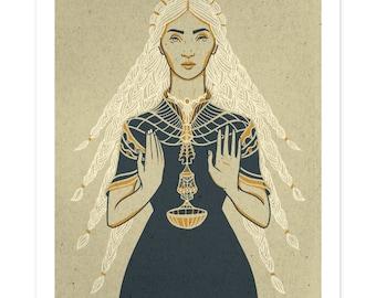 LIBRA Poster, Zodiac Print, Illustrated Poster, Autumn Birthday Gift, Wall Art, Libra Art, Woman Design