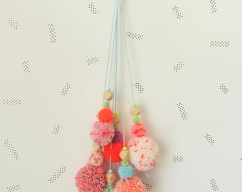 Pompons bouquet wall hanging, handmade colorful wall decor, nursery wall decor, kids wall decor