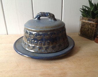 Vintage 1970's Studio Pottery Cheese Dome and Plate - Blue Ceramic