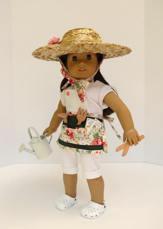 DOLL GARDENING ACCESSORIES for American Girl ®, 18-inch Doll w/ Hat, Apron, Watering Can, Tools, Seed Packets