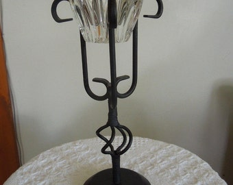 Black Wrought Iron Stand with Crystal Candle Holder