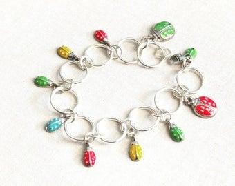 Ladybug Charm Bracelet, Silver Link Bracelet,  Ladybug Gift, Charm Bracelet for Girls