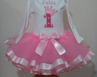 Personalised 1st  Birthday girl /princess tutu outfit, vest and tutu skirt, cake smash tutu, ribbon edged tutu