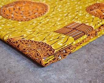 1/2 Yard African Fabric Vlisco Wax Hollandais, Yellow Orange Cotton, Tribal Textile, Summer African Clothing, Hippie Fabric, Boho Home Decor