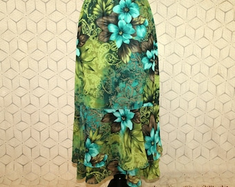 Tropical Skirt Chiffon Skirt Paisley Floral Skirt Green Turquoise Long Midi Skirt Print Womens Skirts Koret Medium Large Womens Clothing