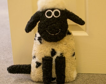 Wooly Sheep Doorstop - Handmade lamb Ornament Bedroom Bookend