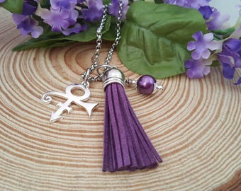 Prince Symbol Charm and Tassel Necklace with Wire-Wrapped Purple Glass Pearl | Prince Rogers Nelson