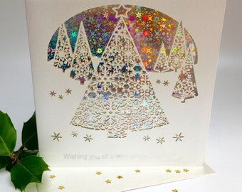 Christmas Card Laser Cut Delicate Cut Trees Quality Heavy Board with Foiled Insert Christmas Trees Forest christmas Sparkle (3652)