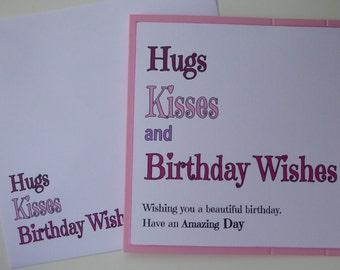 Birthday Card - PINK Hugs, Kisses & Birthday Wishes, Birthday, Happy Birthday, Women, Ladies, Birthday,