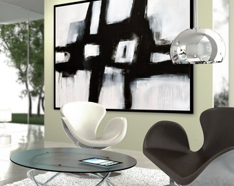 Original Large Abstract Art Painting On Canvas Black and White wall canvas art, Large Acrylic Painting On Canvas, Modern Painting IN-STOCK