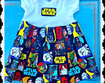 girls star wars dress 0-3 3-6 6-9 12-24 layette month infant toddler