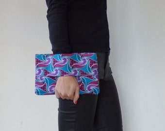 Wallet african fabric blue and pink, wrist wallet, batik fabric, african clutch, ethnic clutch bag, pouch bag, purse, mylmelo,african wallet