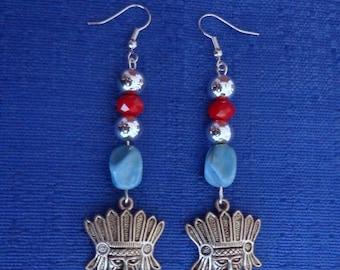 Handmade Indian Chief Earrings,Southwest Earrings,Western Earrings,Turquoise Earrings