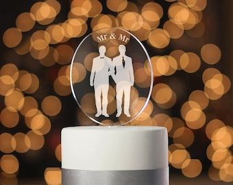 Gay Cake Topper, Gay Wedding Cake topper, Engraved, Mr & Mr, Mr and Mr Cake Topper, Silhouette Cake Topper, Engagement Cake Topper (T352)