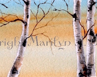 WATERCOLOR SCENE - ORIGINAL; skyline, birch grove, dawn, wall art, original art, miniature art
