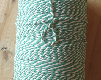 Bakers twine, 10 meters, green and white, cotton, twine, rope, drawstring, string