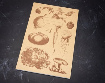 Vintage Veggie Softcover Notebook (100% Recycled Paper) Handmade Spring Garden Plants Botany Ecology Vegetable Biology Journal Student