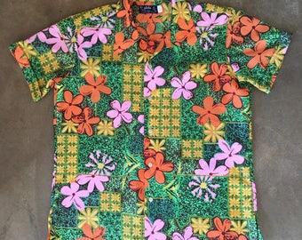 Vintage 70s 80s Men's Aloha Hawaiian Shirt Button Up Luau Party Spring Summer