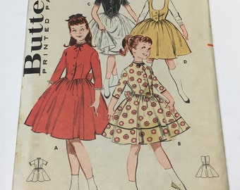 """Butterick 9163 Vintage 1950s Sewing Pattern: Girl's Dress and Jumper with Petticoat, Size 8 (26"""" Bust/Chest, Factory Folded (Unused)"""
