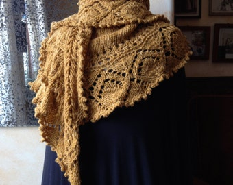 Handknit lacy shawl - 100 % merino, yellow/gold - shoulder shawl, scarf