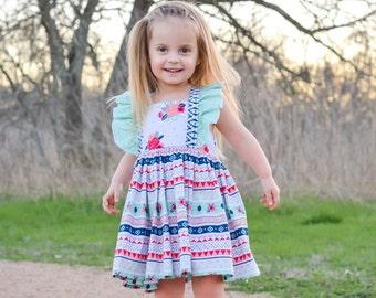 Girls Dress - Toddler Dress - Summer Dress - Aztec Dress - Flutter Sleeve Dress - Boutique Dress - Toddler Girl Clothes - Toddler Sundress