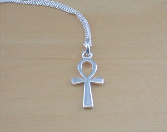 "925 Silver Ankh Pendant & 18"" Sterling Silver Chain/Silver Ankh Pendant/Ankh Necklace/Egyptian Ankh Necklace/Ankh Jewellery/Ankh Jewelry"