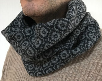 Mens snood, mens lambswool snood, knitted cowl, lambswool snood, Fathers Day gift,  lambswool cowl, handmade gifts for him, mens scarf