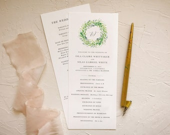 Wreath Wedding Ceremony Program for Rustic Weddings