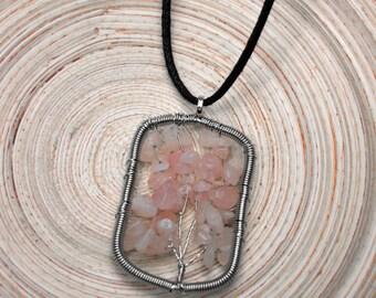 Rose Quartz Rectangular Tree of Life Pendant Necklace