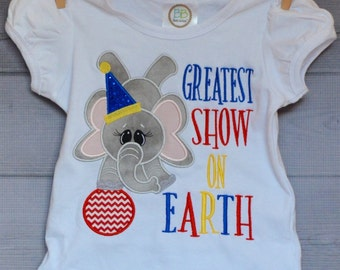 Personalized Circus Elephant Balancing on Ball Applique Shirt or Onesie Girl or Boy