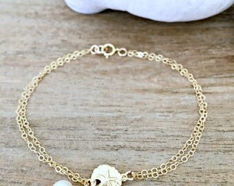 14k Gold Sand dollar Bracelet Sand dollar jewelry Pearl Bracelet Pearl Jewelry Beach Jewelry mother daughter bracelets beach wedding pearl