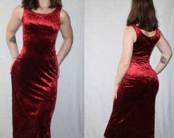 90's Crushed Red Velvet Tank Dress