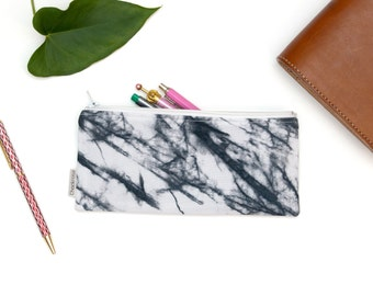 White Marble pencil case, marble pencil pouch, white marble pen case, marble pencil bag, fabric pencil case, custom pencil cases, Handmade