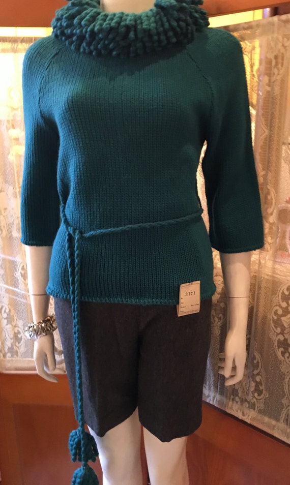 Vintage Petti Teal Sweater with a Large Braided Collar and Belt New with Tags Ohio Knitting Mills Size Small