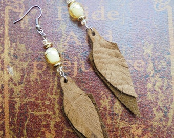 Brown and Gold Leather Boho Feather Earrings