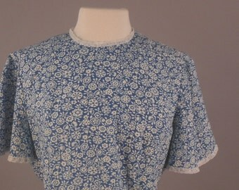 Rockabilly Blue and White Dress, 1980's, L