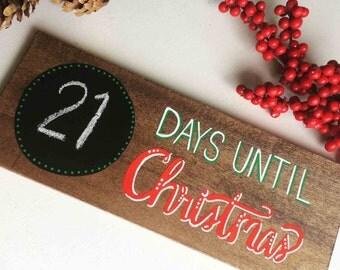 Christmas Countdown Chalkboard Wood Sign,Days til Christmas,  Hand painted, Rustic Christmas, Chic Farmhouse Christmas Decor, SALE
