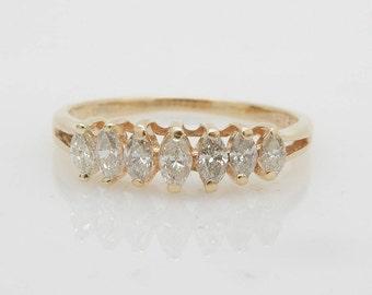 14K Yellow Gold 0.40cttw H-SI Marquise Cut Diamond Wedding Band Ring-Sz 7; sku # 3656