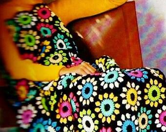 Jewel Flower Afghan Vintage Crochet pattern Download