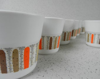 Mod Set of 8 Noritake Mardi Gras Mugs, Cups, Noritake Progression, Orange Tan Yellow and Gray, 9019