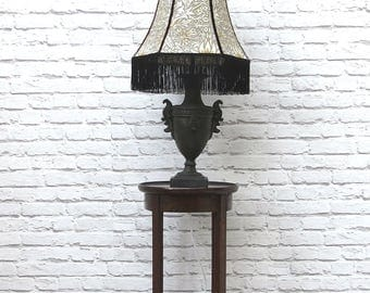 Vintage Urn Table Lamp and Handmade Lampshade Grey Gold William Morris House of Hackney Style