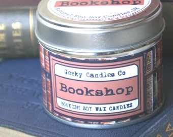Bookshop Candle - Scented CANDLE Book Candle  - Book Scented Candle -Soy Candle - Container Candle - Tin Candle