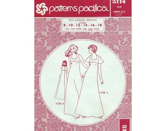 Hawaiian Dress Sewing Pattern Misses Size 8-10-12-14-16-18 Uncut Vintage 1970's Patterns Pacifica 3114